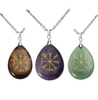 Viking Rune Pusula Doğal Taşlı Kolye