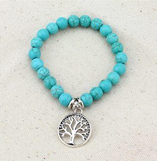 Turkuaz Taşlı Hayat Ağacı Bileklik
